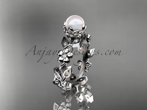 14kt white gold diamond pearl unique engagement ring AP209