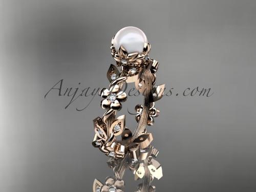 14kt rose gold diamond pearl unique engagement ring AP209