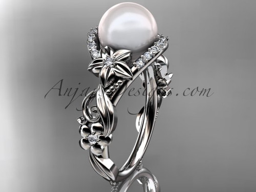 14kt white gold diamond pearl unique engagement ring AP211