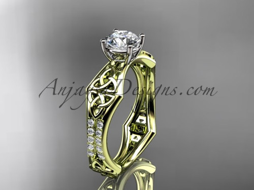 """14kt yellow gold diamond celtic trinity ring,  triquetra ring, engagement  ring with a """"Forever One"""" Moissanite center stone CT7353"""