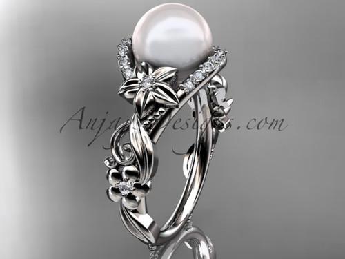 Platinum diamond pearl unique engagement ring AP211
