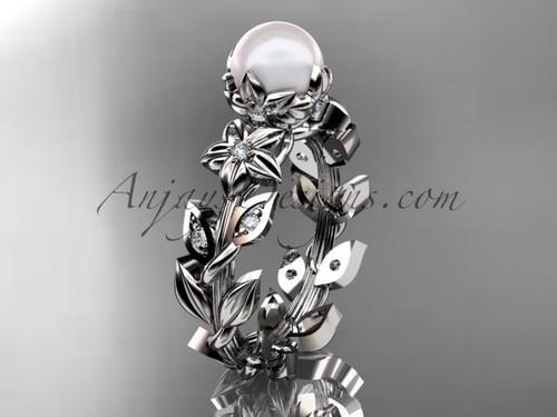 Platinum diamond pearl unique engagement ring, wedding ring AP215