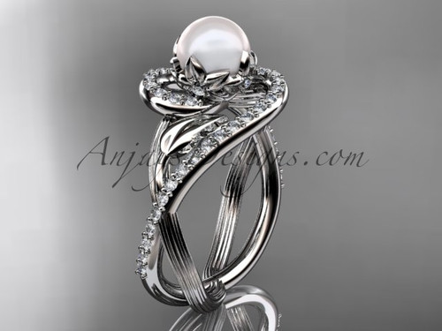 14kt white gold diamond pearl unique engagement ring AP222