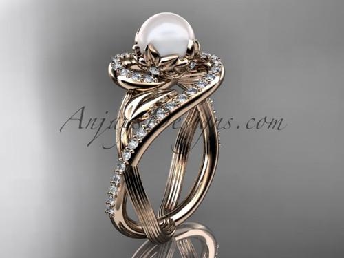 14kt rose gold diamond pearl unique engagement ring AP222