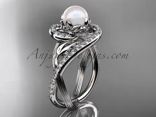 Platinum diamond pearl unique engagement ring AP222