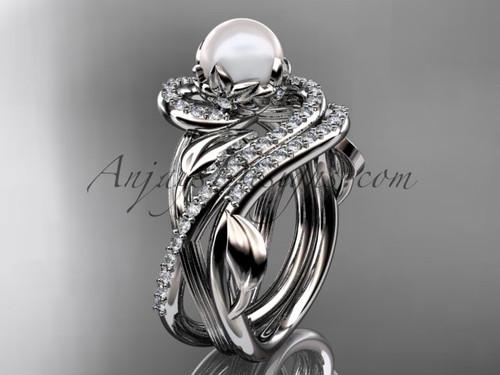 14kt white gold diamond pearl unique engagement set AP222S