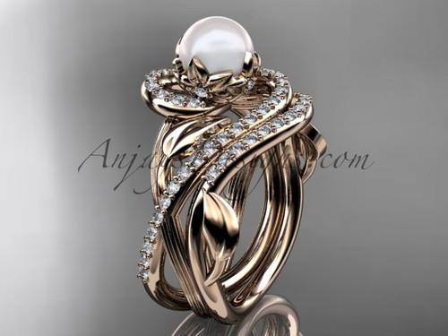 14kt rose gold diamond pearl unique engagement set AP222S