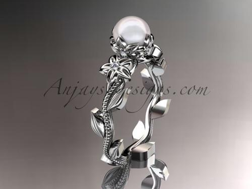 Unique 14kt white gold diamond floral pearl engagement ring AP223