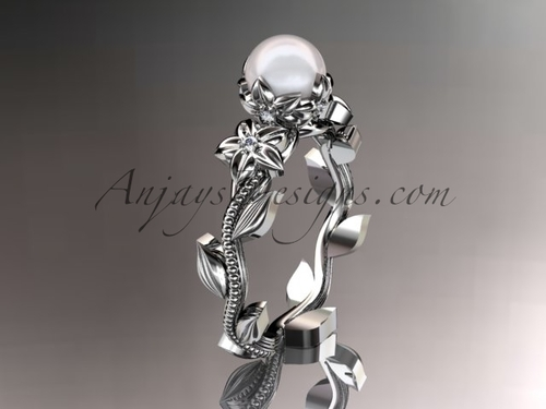 Platinum diamond floral pearl engagement ring AP223