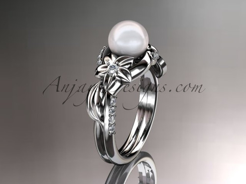 14kt white gold diamond pearl unique engagement ring AP224