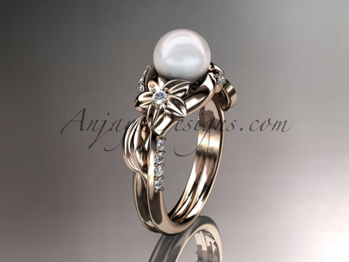 14kt rose gold diamond pearl unique engagement ring AP224