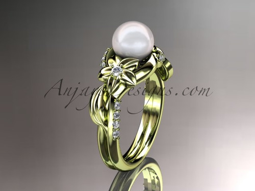 14kt yellow gold diamond pearl unique engagement ring AP224