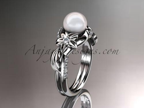Platinum diamond pearl unique engagement ring AP224