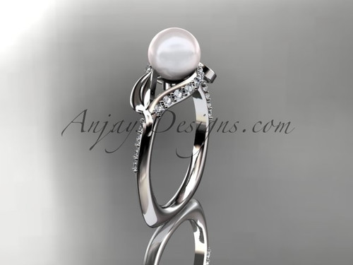 14kt white gold diamond pearl unique engagement ring AP225