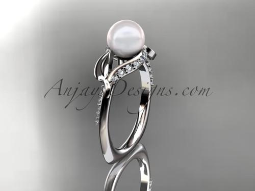 Platinum diamond pearl unique engagement ring AP225