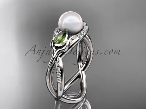 14kt white gold diamond pearl, tulip unique engagement ring AP226