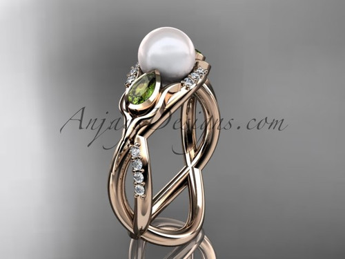 14kt rose gold diamond pearl, tulip unique engagement ring AP226