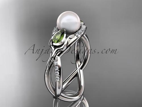 Platinum diamond pearl, tulip unique engagement ring AP226
