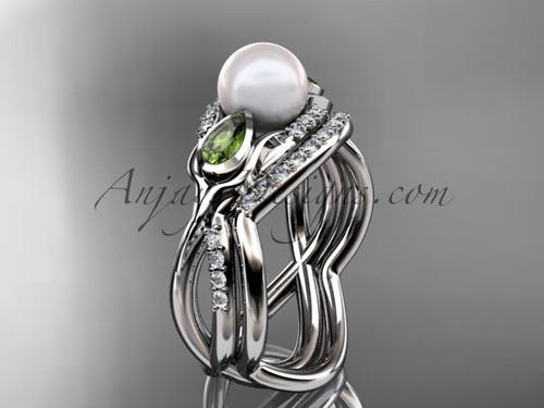14kt white gold diamond pearl, tulip unique engagement set AP226S