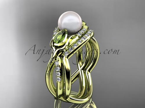 14kt yellow gold diamond pearl, tulip unique engagement set AP226S