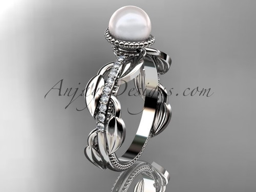 14kt white gold diamond pearl, leaf and vine engagement ring AP231