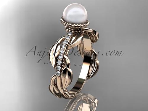 14kt rose gold diamond pearl, leaf and vine engagement ring AP231