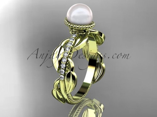 14kt yellow gold diamond pearl, leaf and vine engagement ring AP231
