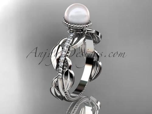 Platinum diamond pearl, leaf and vine engagement ring AP231