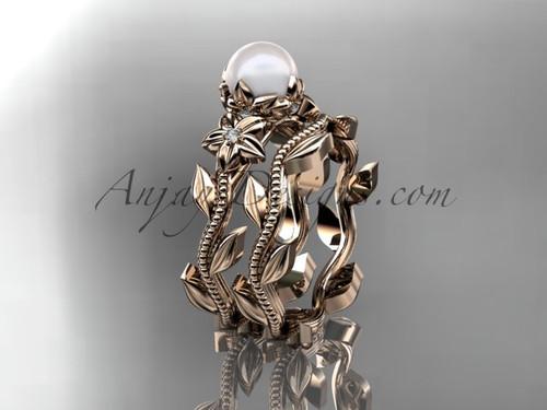 14kt rose gold diamond pearl flower, leaf and vine engagement set AP238S
