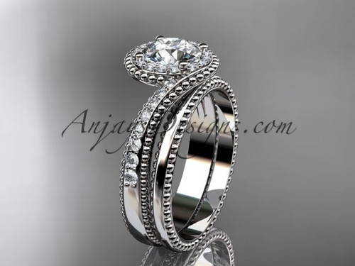 """platinum halo diamond engagement set with a """"Forever One"""" Moissanite center stone ADLR379S"""