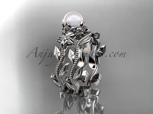 Platinum diamond pearl flower, leaf and vine engagement set AP238S