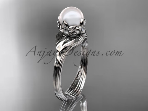 14kt white gold diamond pearl flower, leaf and vine engagement ring AP240