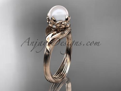 14kt rose gold diamond pearl flower, leaf and vine engagement ring AP240