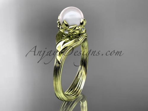 14kt yellow gold diamond pearl flower, leaf and vine engagement ring AP240