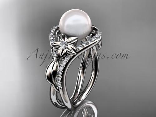 14kt white gold diamond leaf and flower wedding ring, engagement ring AP244