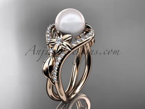 14kt rose gold diamond leaf and flower wedding ring, engagement ring AP244