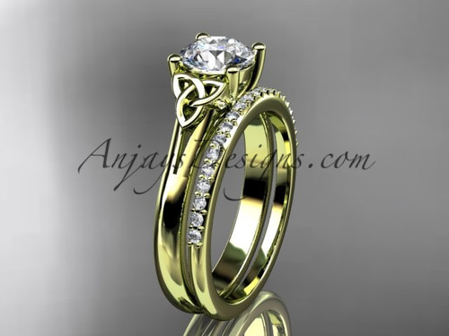 """14kt yellow gold diamond celtic trinity knot wedding ring, engagement set with a """"Forever One"""" Moissanite center stone CT7154S"""