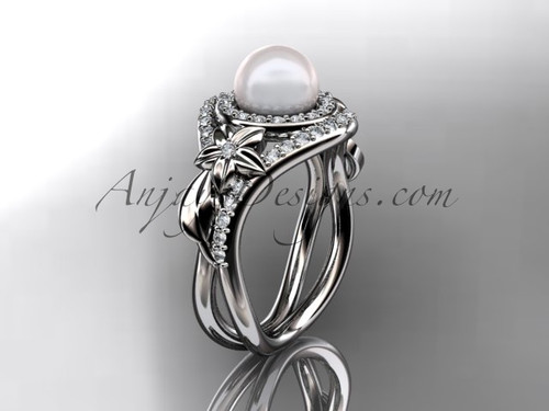 Unique 14kt white gold diamond pearl floral leaf and vine engagement ring AP245