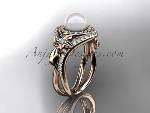 Unique 14kt rose gold diamond pearl floral leaf and vine engagement ring AP245