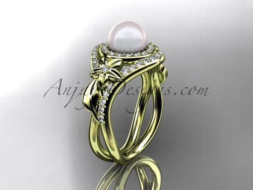 Unique 14kt yellow gold diamond pearl floral leaf and vine engagement ring AP245