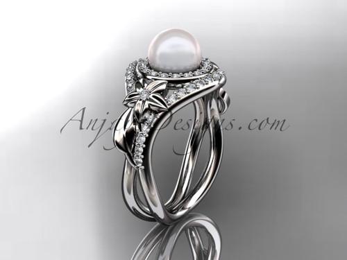 Unique Platinum diamond pearl floral leaf and vine engagement ring AP245