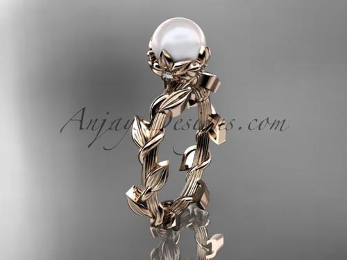 Unique 14kt rose gold diamond pearl leaf and vine engagement ring AP248