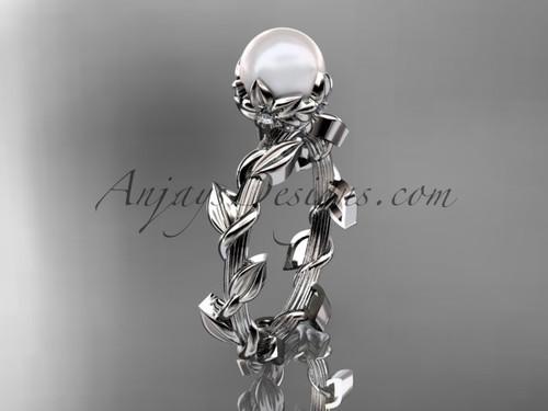 Unique Platinum diamond pearl leaf and vine engagement ring AP248