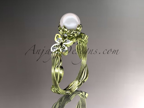 14kt yellow gold diamond pearl leaf and vine engagement ring AP251