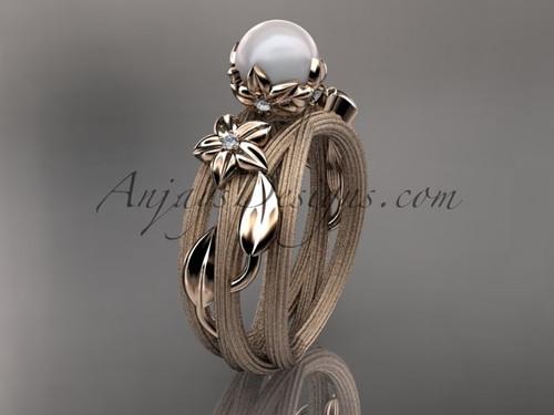 Unique 14kt rose gold diamond leaf and vine pearl engagement ring AP253