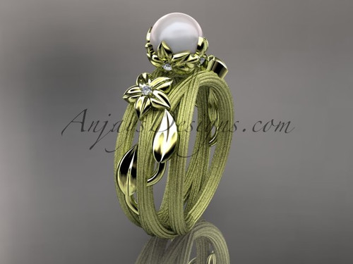 Unique 14kt yellow gold diamond leaf and vine pearl engagement ring AP253