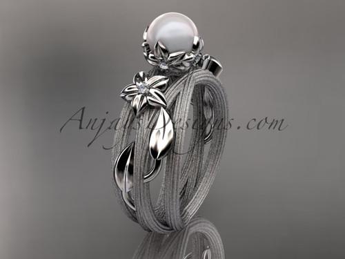 Unique Platinum diamond leaf and vine pearl engagement ring AP253