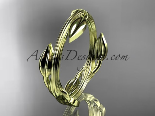 14kt yellow gold leaf and vine wedding ring, engagement ring ADLR31G
