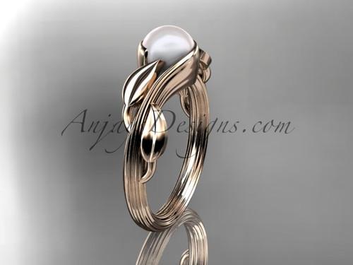14kt rose gold pearl leaf and vine engagement ring AP273
