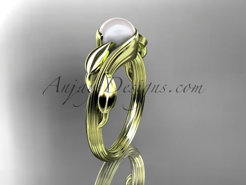 14kt yellow  gold pearl leaf and vine engagement ring AP273